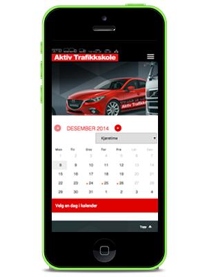 Vi har online bookingkalender for bestilling av kurs og kjøretimer tilpasset mobil